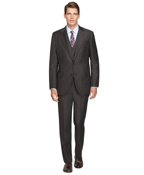 Regent Fit Three-Piece Saxxon Wool Plaid 1818 Suit by Brooks Brothers in Billions
