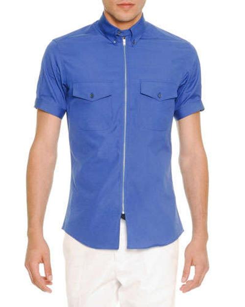 Zip-Placket Short-Sleeve Poplin Shirt by Alexander McQueen in Love & Mercy