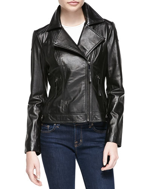 Lambskin Moto Leather Jacket by Neiman Marcus in Brooklyn Nine-Nine - Season 3 Episode 6