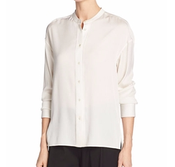 Band-Collar Stretch-Silk Pintuck-Placket Blouse by Vince in House of Cards