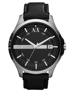 Black Leather 46mm AX 2101 Watch by A/X Armani Exchange in Jurassic World