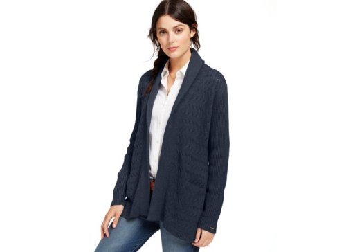 Cable Knit Open Front Cardigan by Tommy Hilfiger in If I Stay
