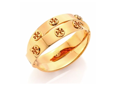 Studded Double-Wrap Logo Bracelet by Tory Burch in Power Rangers