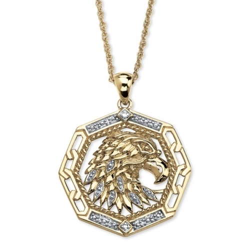 Gold Eagle Pendant Necklace by Palm Beach Jewelry in Ballers