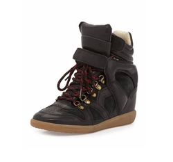 Buck Leather Wedge Sneakers by Isabel Marant in Pretty Little Liars