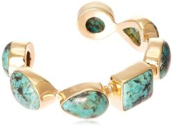 African Turquoise Gem Stones Single Line Cuff Bracelet by Isharya in Couple's Retreat