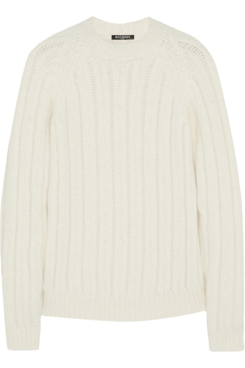 Ribbed Angora-Blend Sweater by Balmain in Burnt
