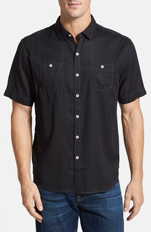 'New Twilly' Island Modern Fit Short Sleeve Twill Shirt by Tommy Bahama in Pretty Little Liars - Season 6 Episode 2