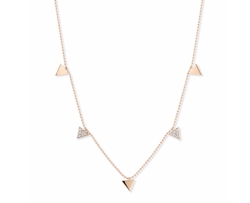 Geometry Rose Gold & Dangling Diamond Triangle Necklace by Kismet by Milka in Fuller House