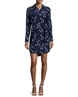 Long Sleeve Bird Print Shirtdress by Kate Spade New York in New Girl
