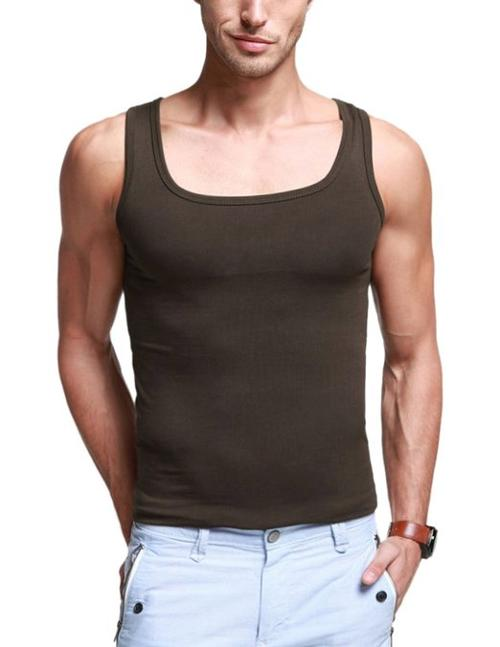 K|G Mens Basic Tank Top/A-Shirts Series Square Neck/Slim Strench Fit by Match in The Maze Runner