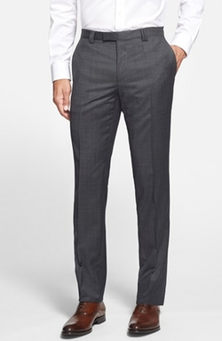 'Heibo' Flat Front Wool Blend Trousers by Hugo in The Good Wife