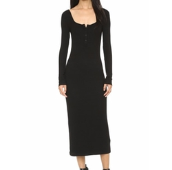 Modal Ribbed Henley Dress by T By Alexander Wang in Keeping Up With The Kardashians