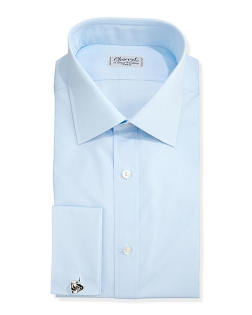 Solid Poplin French-Cuff Shirt by Charvet	 in Demolition