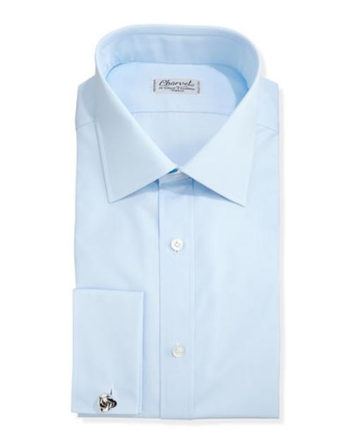 Solid Poplin French-Cuff Shirt by Charvet in Demolition