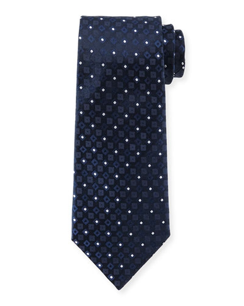 Square & Dot-Print Silk Tie by Armani Collezioni in Suits - Season 5 Episode 9