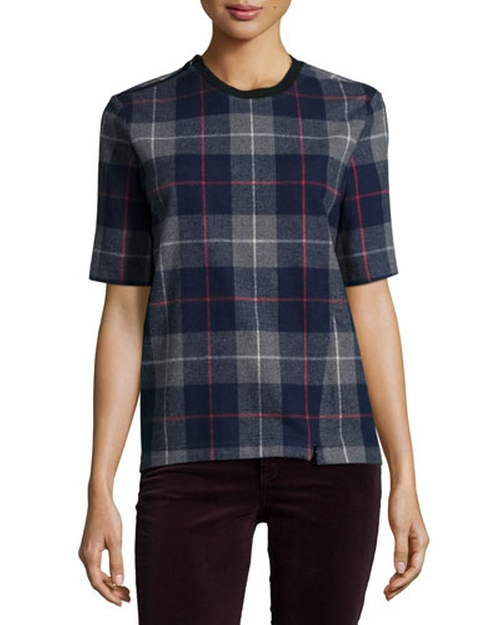 'Austin' Plaid Short-Sleeve Top by Rag & Bone in Black-ish