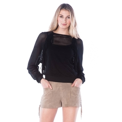 Long Sleeve Mesh Tee With Fringe by Sam Edelman in She's Funny That Way