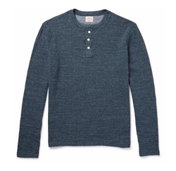 Duofold Cotton-Blend Jaspé Henley T-Shirt by Faherty in Billions