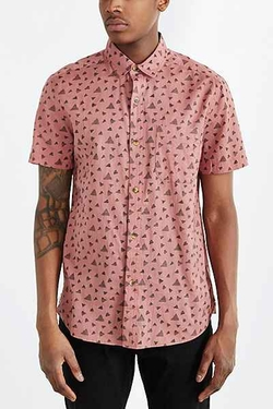 Koto Short-Sleeve Triangle Breezy Button-Down Shirt by Urban Outfitters in Modern Family