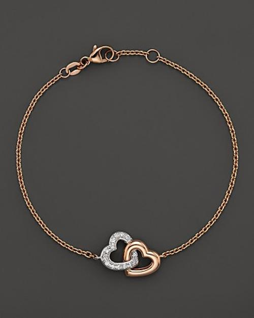 Diamond Interlocking Heart Bracelet in 14K Rose and White Gold by Bloomingdales in Couple's Retreat