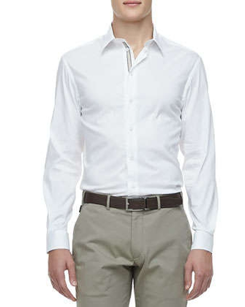 Poplin Grosgrain-Placket Dress Shirt, White by Armani Collezioni in X-Men: Days of Future Past