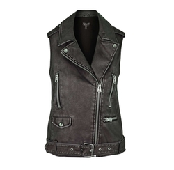 Sleeveless Faux Leather Biker Jacket by Topshop in Pretty Little Liars
