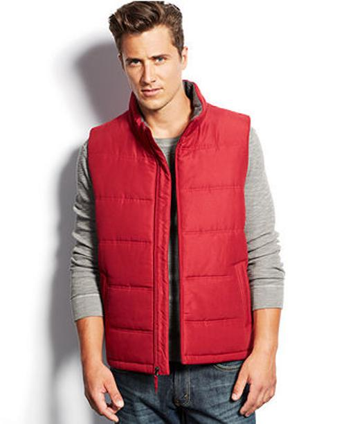 Solid Microfiber Puffer Vest by Weatherproof in Chronicle