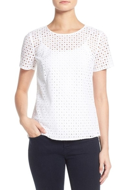 Eyelet Cotton Peplum Back Top by Michael Michael Kors in The Girl on the Train