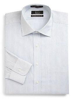 Pinstriped Cotton Button-Front Shirt/Modern Classic Fit by Saks Fifth Avenue Black in Wish I Was Here