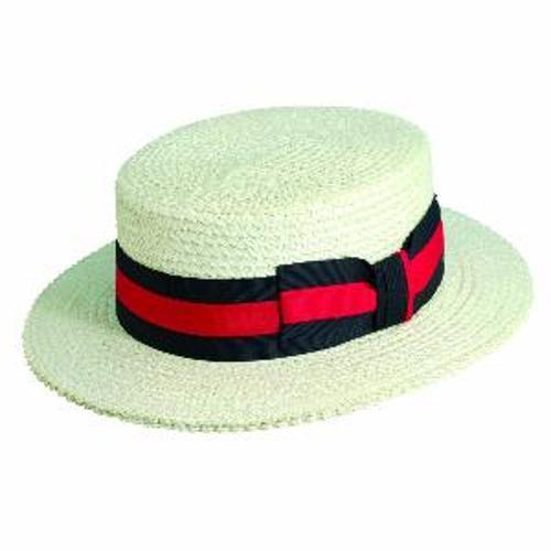 Men's Brim Straw American Boater Hat by Dorfman Pacific in Unbroken