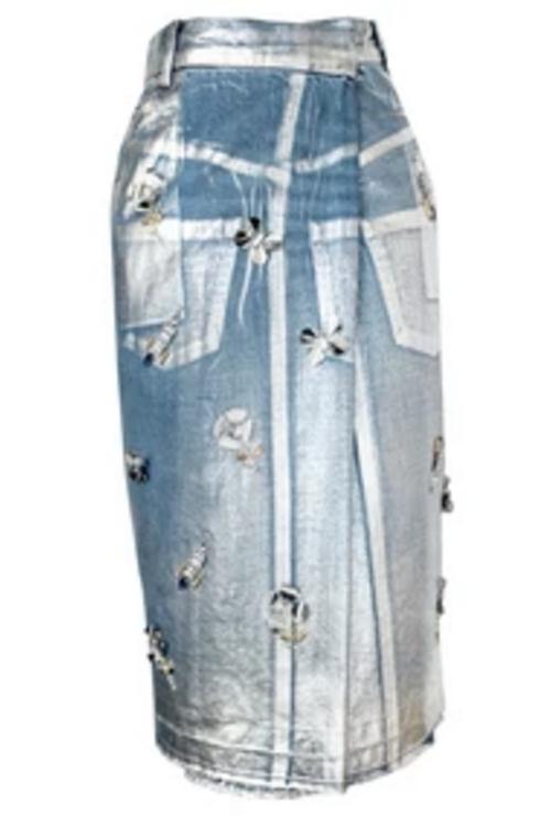 Embellished Midi Denim Skirt by Muveil in Empire - Season 2 Episode 11