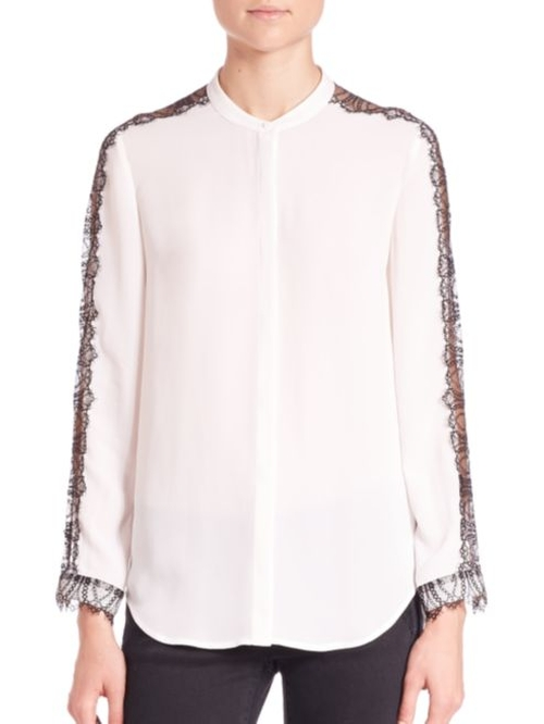 Crepe and Fancy Lace Blouse by The Kooples in The Bachelorette - Season 12 Episode 7