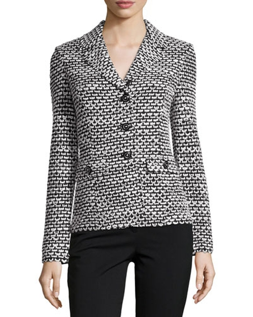 Santana Check-Knit Three-Button Blazer by St. John in The Good Wife - Season 7 Episode 4