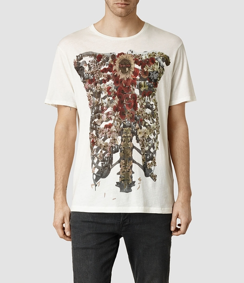 Ribcage Crew T-Shirt by All Saints in Barely Lethal