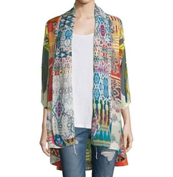 Mix-Print Kimono Jacket by Johnny Was in Empire