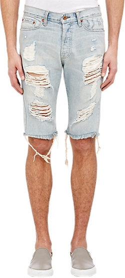 Chuck Distressed Denim Shorts by NSF in Empire