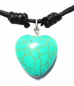Turquoise Bead Heart Pendant Necklace by Bijoux De Ja in The Place Beyond The Pines