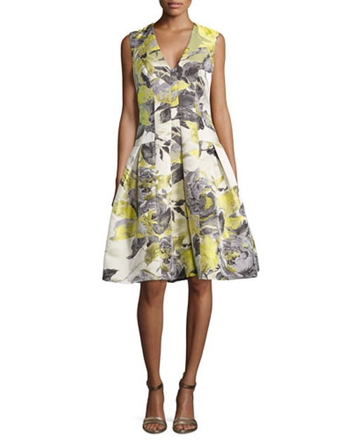 Floral-Print Sleeveless Party Dress by Carmen Marc Valvo in The Blacklist - Season 3 Episode 5