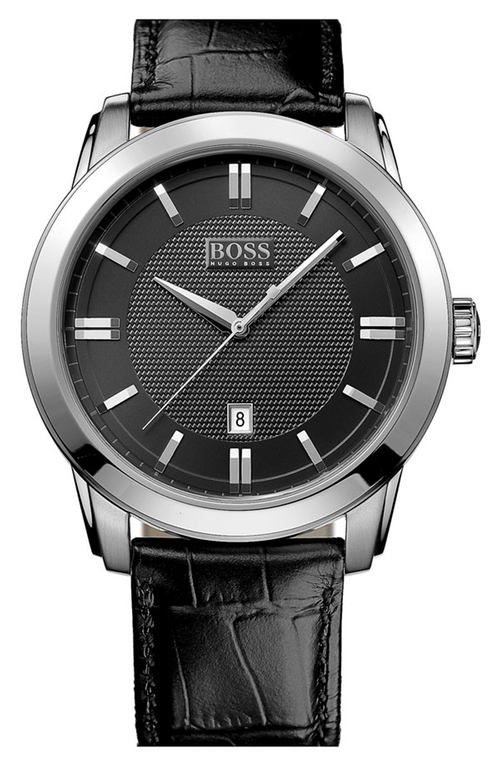 Round Leather Strap Watch by Boss in Survivor