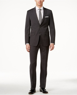 Slim-Fit Pinstripe Suit by Calvin Klein in Power