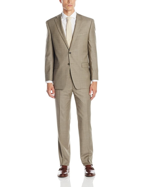 Men's Malik Taupe Two-Button Side Vent Suit by Calvin Klein in Mad Dogs -  Looks