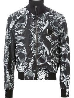 Shark Print Bomber Jacket by Philipp Plein in Black-ish