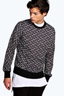 Geometric Print Sweater by Boohooman in Everest