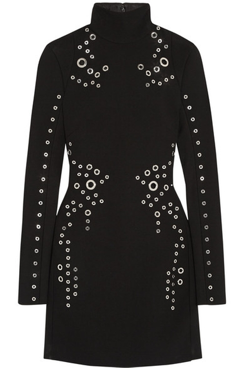 Eyelet-Embellished Wool-Crepe Mini Dress by Mugler in Keeping Up With The Kardashians