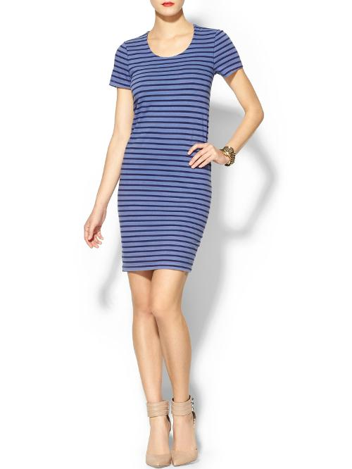Striped Jersey Cross Over Back Dress by Monrow in What If
