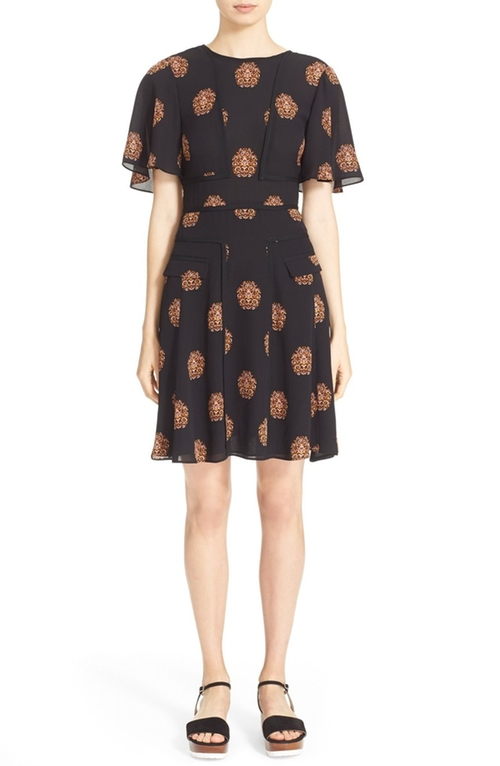 'Cooper' Print Silk Dress by A.L.C. in Mistresses