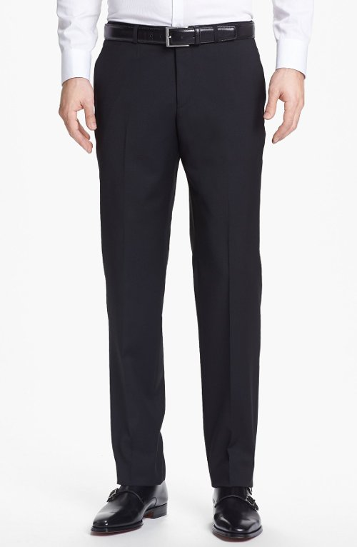 Sharp Flat Front Wool Trousers by Boss Hugo Boss in Begin Again