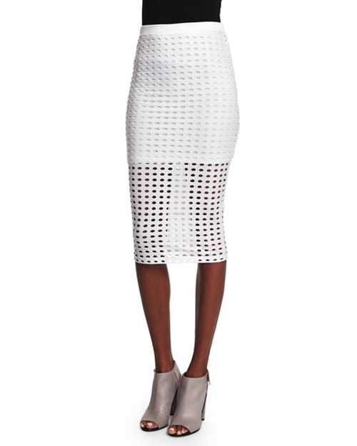 Eyelet Jacquard Pencil Skirt by T By Alexander Wang in Mistresses - Season 4 Episode 8