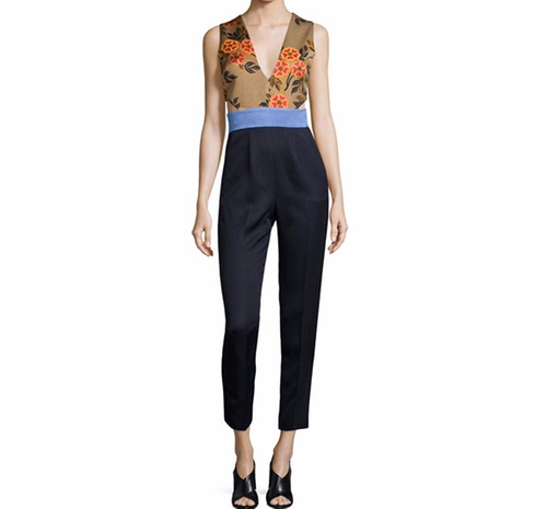 Sleeveless Floral-Combo Colorblock Jumpsuit by MSGM in Mistresses - Season 4 Episode 11